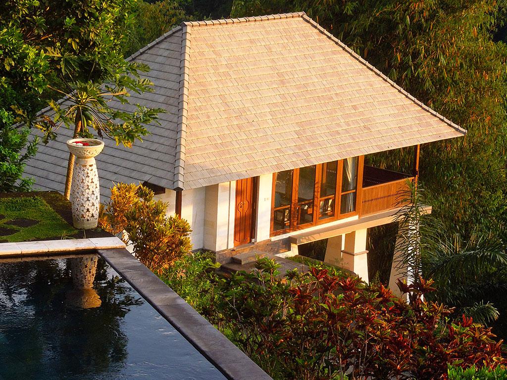 One Bedroom Pool Villa front door during sunrise